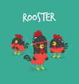 set of funny cartoon rooster vector image