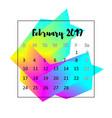 2019 calendar design concept february vector image vector image