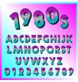 80s retro font template set of letters