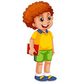 a happy boy student character vector image