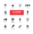 allergens - modern simple thin line design icons vector image vector image