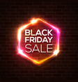 black friday design neon sign web hexagonal logo vector image vector image