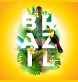 brazil typography with toucan vector image vector image