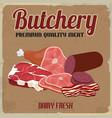 butchery retro poster vector image vector image