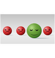 calm face ball among angry face balls background vector image vector image