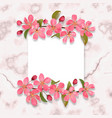 card template with pink cherry blossom on marble vector image