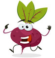 cartoon happy beet character vector image vector image