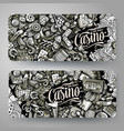 casino hand drawn doodle banners design vector image