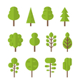 Collection set flat icons tree garden bush vector image vector image