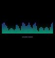 colorful sound waves on black background set vector image