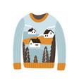 cozy handmade christmas sweater flat vector image