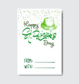 cute saint patrick day greeting card hand drawn vector image