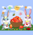 easter bunnies near the basket with easter eggs vector image