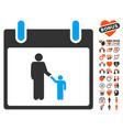 father calendar day icon with valentine bonus vector image vector image