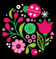floral folk art design pattern with flowers vector image