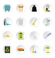 garbage thing set flat icons vector image vector image
