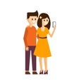 Girl and Boy Making a Selfie vector image