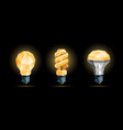 glowing yellow 3d low poly light bulbs model set vector image