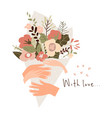 hands man and woman holding bouquet flowers vector image