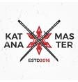 Japanese Ninja Logo Katana master insignia design vector image