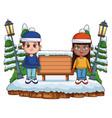 kids in winter cartoon vector image