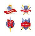 knight badge company firm logo flat knight vector image