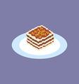 Lasagna Food Icon vector image