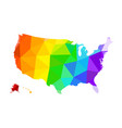 lgbt flag in form a map united vector image