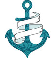 nautical anchor with rope and vector image