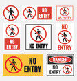 no entry sign set no access label vector image vector image