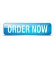 order now blue square 3d realistic isolated web vector image vector image