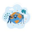 people hug earthglobe vector image vector image