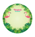 pink flamingo with tropical jungle round frame vector image