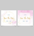 pink watercolor wedding invitation with golden vector image vector image