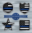 police support flag badges vector image vector image
