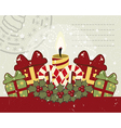 Retro Christmas background with candle vector image vector image