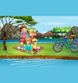scene with kids picnicing in park vector image vector image