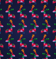 seamless pattern with colorful deers vector image vector image