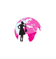 silhouette a woman shopping with a pink globe vector image