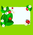 small paper strawberry and ladybug vector image