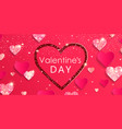 valentines day banner with shiny glitter hearts vector image vector image