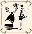 vintage dancing lady vector image