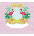 vintage frame - green palms and pink flamingo vector image