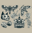 vintage monochrome tattoos set vector image vector image