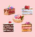 watercolor dessert set vector image vector image