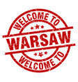 welcome to warsaw red stamp vector image vector image