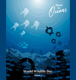 wildlife day concept for ocean life protection vector image vector image
