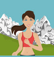 woman running in the landscape vector image vector image