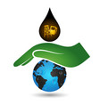 hand protects the planet from pollution vector image