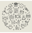 Restaurant and foods outline icons set vector image